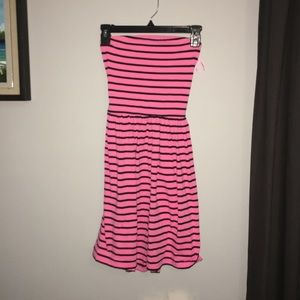 navy and pink striped strapless dress